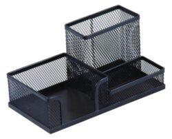 Stojánek Combo drátěný černý-Stolní zásobník Set 3 přihrádky kov, černý.