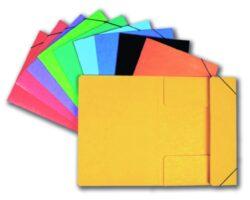 Mapa odkládací - prešpán, 3 klopy žlutá s uzavírací gumičkou-Odkládací mapa se třemi klopami a gumičkou, barevný karton PREŠPÁN 350g.