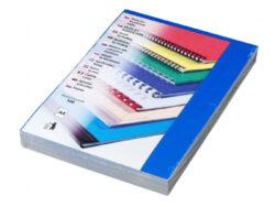 Desky pro krouž. vazbu A4 chromolux modré, 100 ks-Kartonové desky, z jedné strany barevný leštěný povrch. Druhá strana bílá matná, 220 g/m2.
