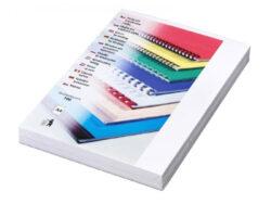 Desky kartónové DELTA A4/100ks, bílé-Kartonové desky, z jedné strany ražba imitace kůže. Druhá strana hladká matná v barvě desek, 250 g/m2.
