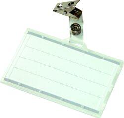Jmenovka identifikační s klipem-Jmenovka s klipem 88 x 55 mm, transparentní