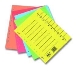 Rozlišovač A4, kartonový odstřih., mix barev CLASSIC, 100 ks