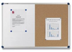 Tabule KOMBI korková/bílá 39x59 cm-Duo tabule s dřevěným rámem s magnetickou a korkovou částí.