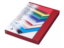 Desky kartónové DELTA A4/100ks, červené-Kartonové desky, z jedné strany ražba imitace kůže. Druhá strana hladká matná v barvě desek, 250 g/m2.