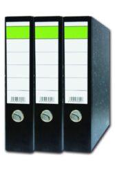 Pořadač pákový A4 Ekonomik 75mm - zelený pruh-Pořadač s pákovou mechanikou a hřbetem 7,5 cm, rastrovaný potah, černý mramor, zelený pruh na štítku. Balení: 20 ks