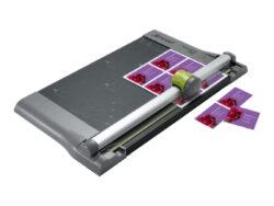 Řezačka papíru kotouč. REXEL SmartCut A400-Robustní a přesná kotoučová řezačka s kovovou konstrukcí a délkou řezu 320 mm. Kapacita řezání činí až 10 listů papíru 80 g/m2 současně pro dokumenty do formátu A4. Tato řezačka je ideální do kanceláře i pro domácí použití.